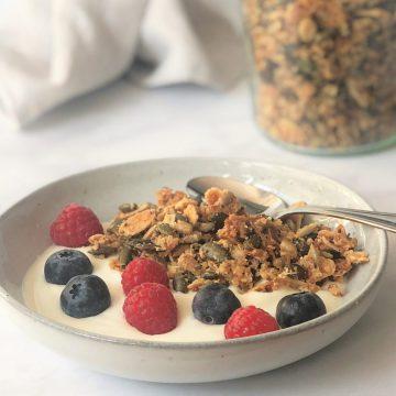 Knuspermüsli-Granola-getreidefrei-zuckerfrei-lowcarb-keto-ketogen-ketogene-Ernährung-gesund-Paleo-zitrone-Müsli-köstlich-Rezept-kleingenuss