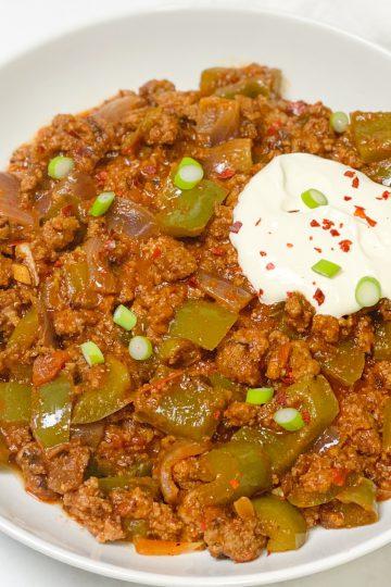 Chili con carne-low-carb- Hackfleisch-Eintopf-Rezept- low carb-lowcarb-ohne Getreide-getreidefrei- glutenfrei- diät- abnehmen-diät Rezepte-kohlenhydratarme Rezepte-ketogene Ernährung-keto- Eintopf mit Hackfleisch-low carb rezept- schnell- einfach- köstlich- für Gäste- keto diät- ketogene diät- - low carb Eintopf- keto Suppe- Paprika- gesunde Fette- kleingenuss- kleingenuss isst keto- foodblog- deftig- würzig-Chili-einfache Zubereitung-schnelle Zubereitung-scharf